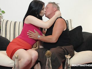 Brunette nympho Sheril Blosso enjoys random sex with senior