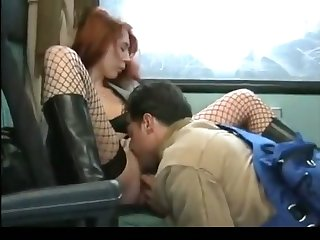 Horny bitch is getting her pussy eaten abroad unconnected with some random man on a train
