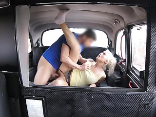 Slutty blonde MILF hooks up with her hung taxi cab wine steward