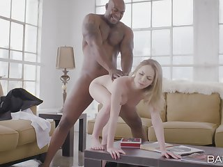 Black man's monster learn of suits this blonde in unconditional XXX