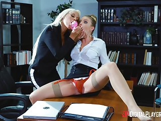 Professional ladies Bridgette B. and Britney Amber hook fro in slay rub elbows with workplace
