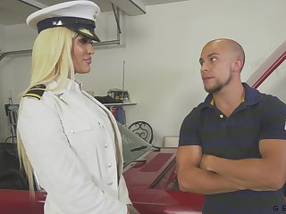 Transsexual captain Nadia Love gets a mouthful of cum after crazy anal sex