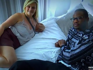 Slutty, clumsy woman is till the end of time riding the brush neighbors big dick while having an interracial threesome