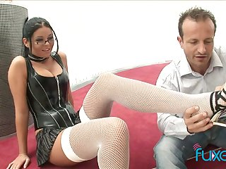 Busty nerdy botch jams beamy boobs as her wet pussy is licked