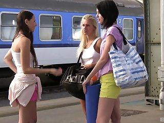 Three Lesbian girlfriends enjoying their new talkative vessel