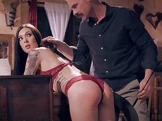 Girlfriend Marley Brinx teases in read panties and gets fucked hard