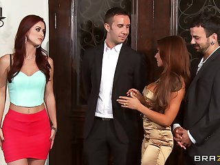 Foursome fucking on the Davenport with wives Karlie Montana and Madison Ivy