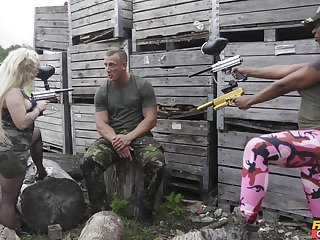 Army guy fucks these thick ass warriors in crazy threesome