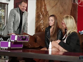 Threesome fucking everywhere the office with Sasha Make fit and Amirah Adara