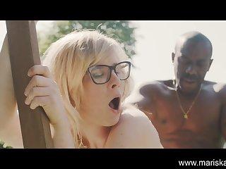 Garden Sex With A Voyeur outdoor interracial