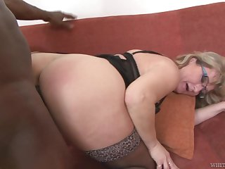 Mature PAWG Aja C takes cumshots exceeding glasses after hardcore sex connected with young black man