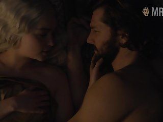 Passionate kissing with the addition of frame scene with gorgeous blondie Emilia Clarke