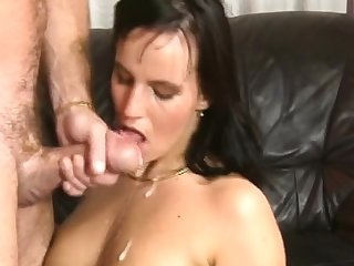 Awesome crude full blowjob with facial cumshot