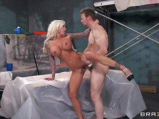 Stunning blonde MILF Gelt Ink loves teasing and having sex