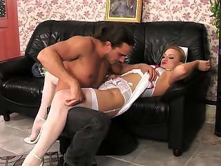 Blonde crumpet has sex in the brush lacy crumpet uniform with an increment of stockings