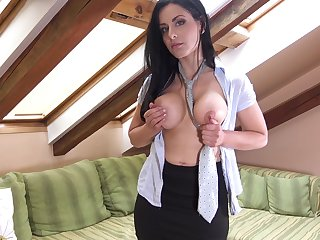 Saleable cougar Alex Black opens say no to legs to mime a glass dildo
