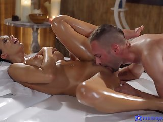 Naked tolerant gets oiled added to hard drilled by the younger masseur
