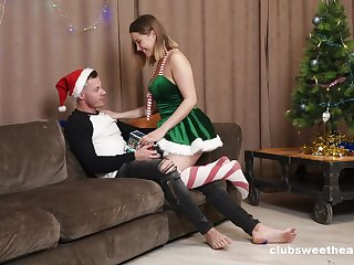 Wild fucking wits the Christmas herb with on the up boobs Amalia Davis