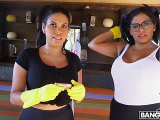 Mature maids Sheila Ortega and Kesha Ortega rate having a FFM threesome