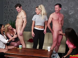 Team a few clumsy dudes succeed in their dicks pleasured by cock hungry pornstars
