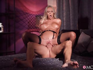 Provocative wife Florane Russell in stockings enjoys riding his dick