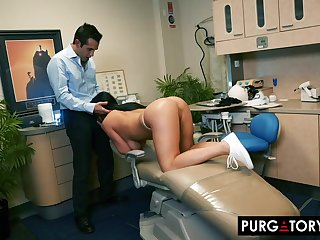 Smoking super-hot dark haired beside huge bra-stuffers is having xxx bang-out beside her fantastic dentist, in his place
